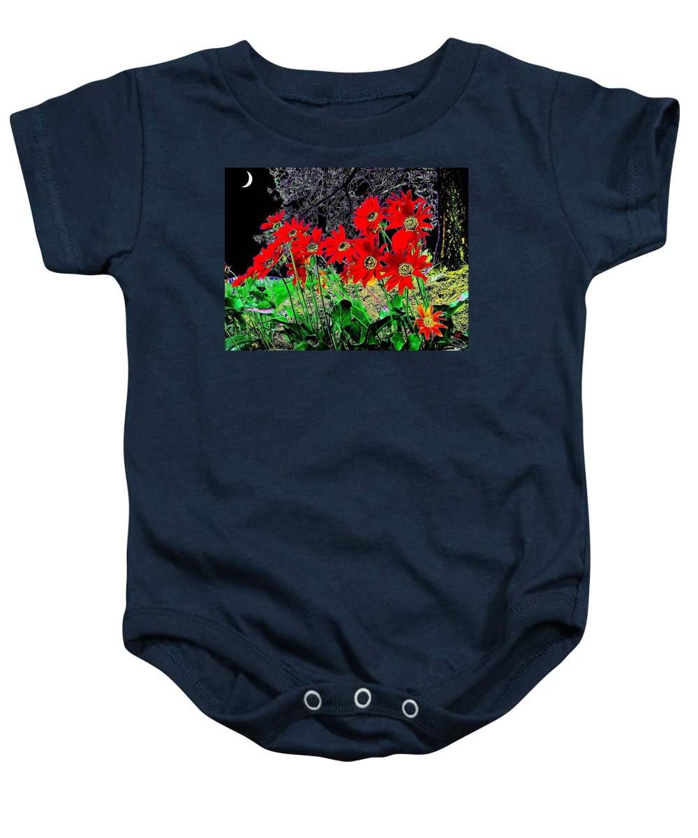 Abstract Baby Onesie featuring the digital art Scarlet Night by Will Borden
