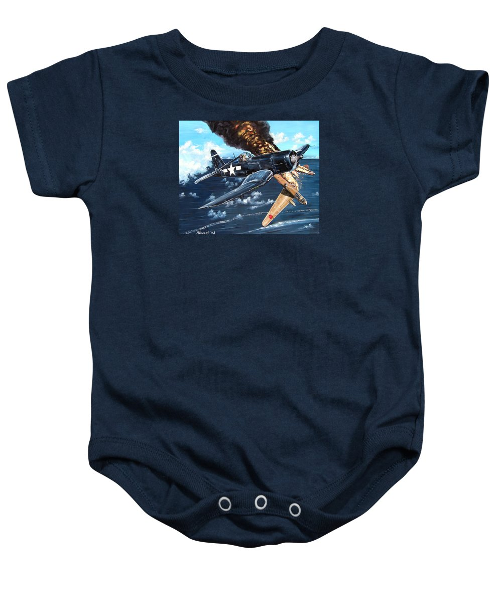 Military Baby Onesie featuring the painting Scratch One Betty by Marc Stewart