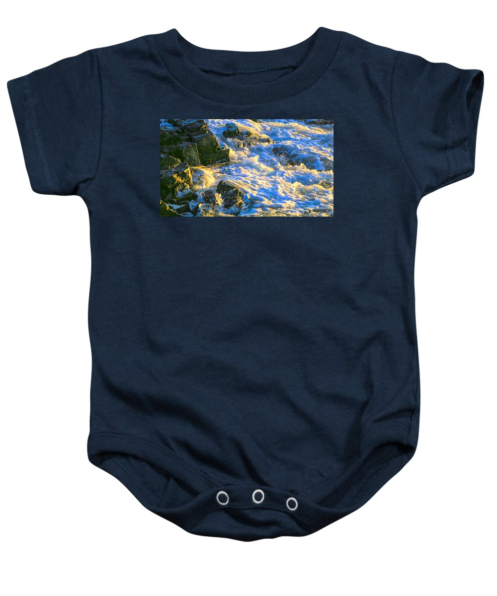Maine Art Baby Onesie featuring the photograph Seafoam by Dennis Baswell