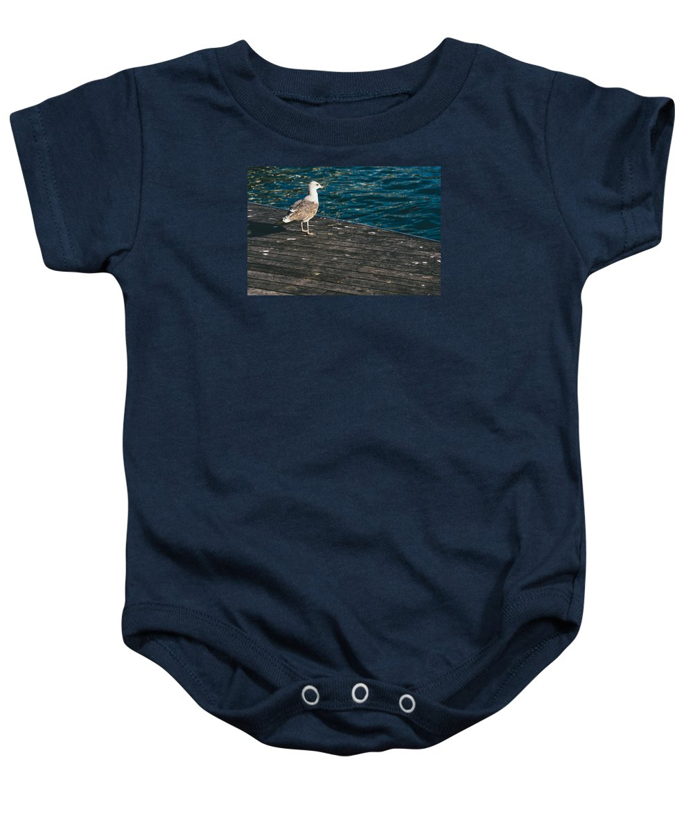 Jetty Baby Onesie featuring the photograph Seagull On The Pier by Pati Photography
