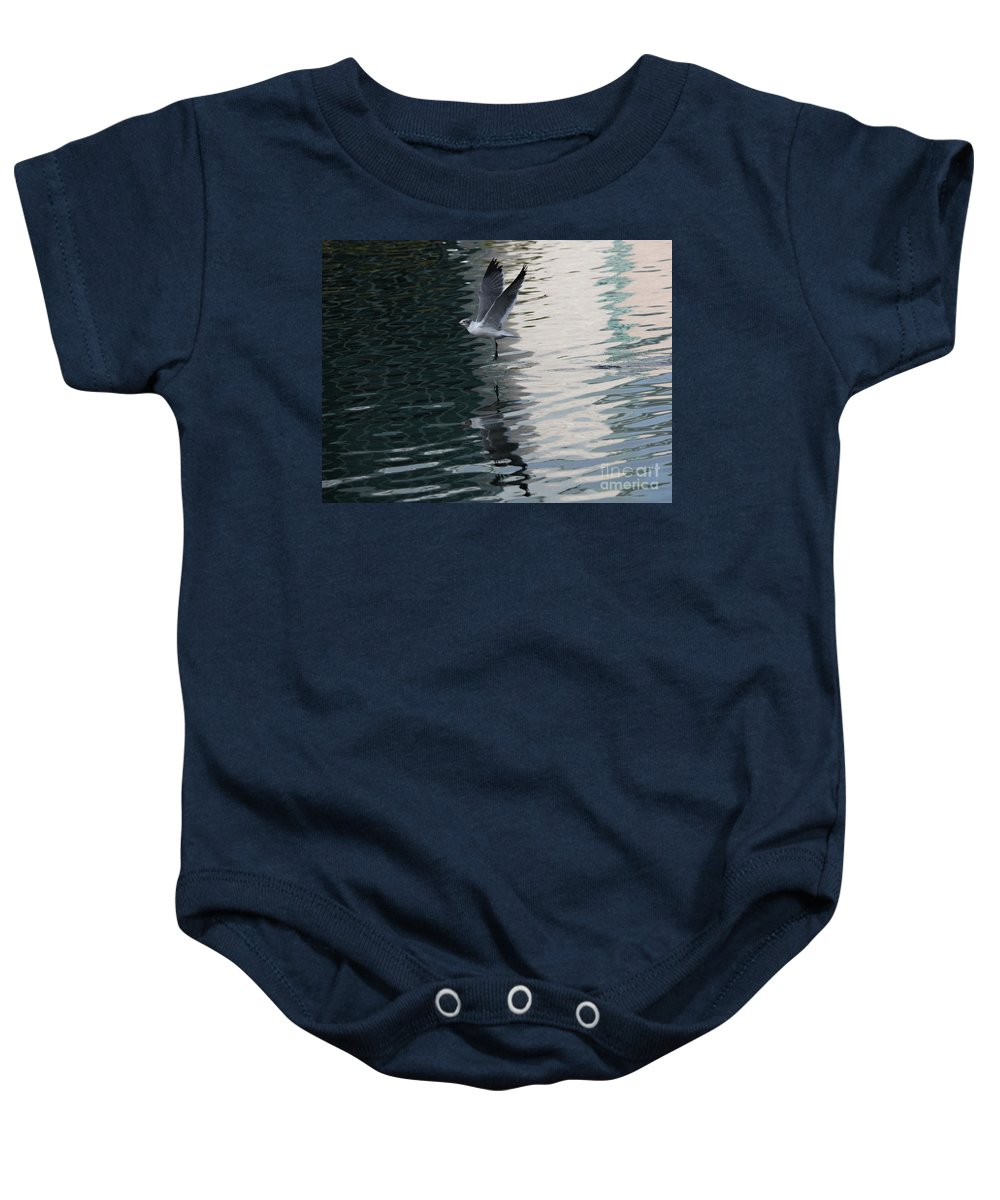 Wildlife Baby Onesie featuring the photograph Seagull Reflection Over Blue Bay by Carol Groenen