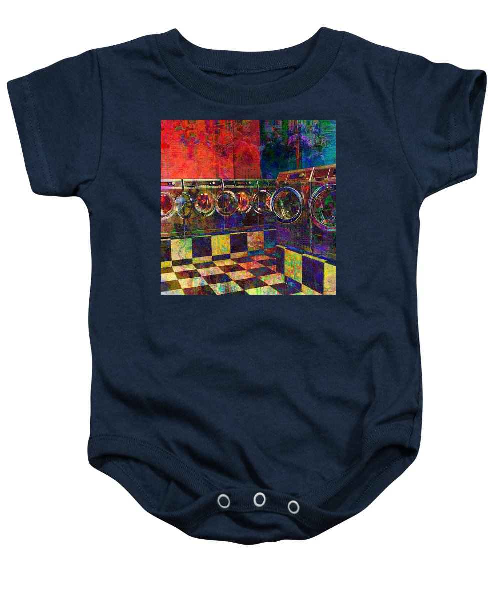 Laundry Baby Onesie featuring the digital art Secret Life Of Laundromats by Barbara Berney