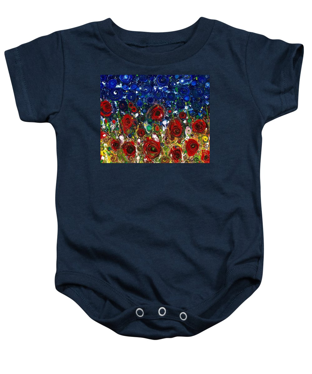 Abstract Flowers Puppies Blu Sky Red Roses Impressionist Emotions Tuscany Memories Sentimenti Ritrovati Nature Annabrunelli Anna Anuta Brunelli Baby Onesie featuring the painting Sentimenti Ritrovati by Anna A Brunelli