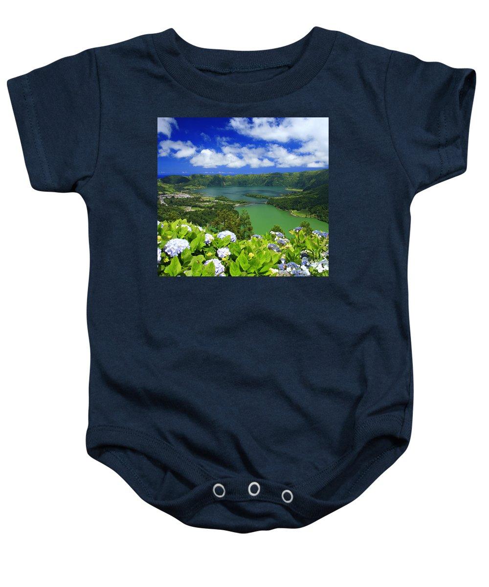 Sete Cidades Baby Onesie featuring the photograph Sete Cidades Crater by Gaspar Avila