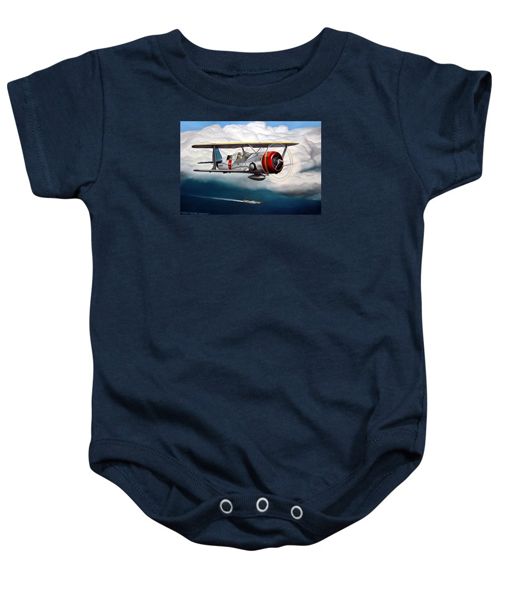 Aviation Baby Onesie featuring the painting Shakedown Cruise by Marc Stewart