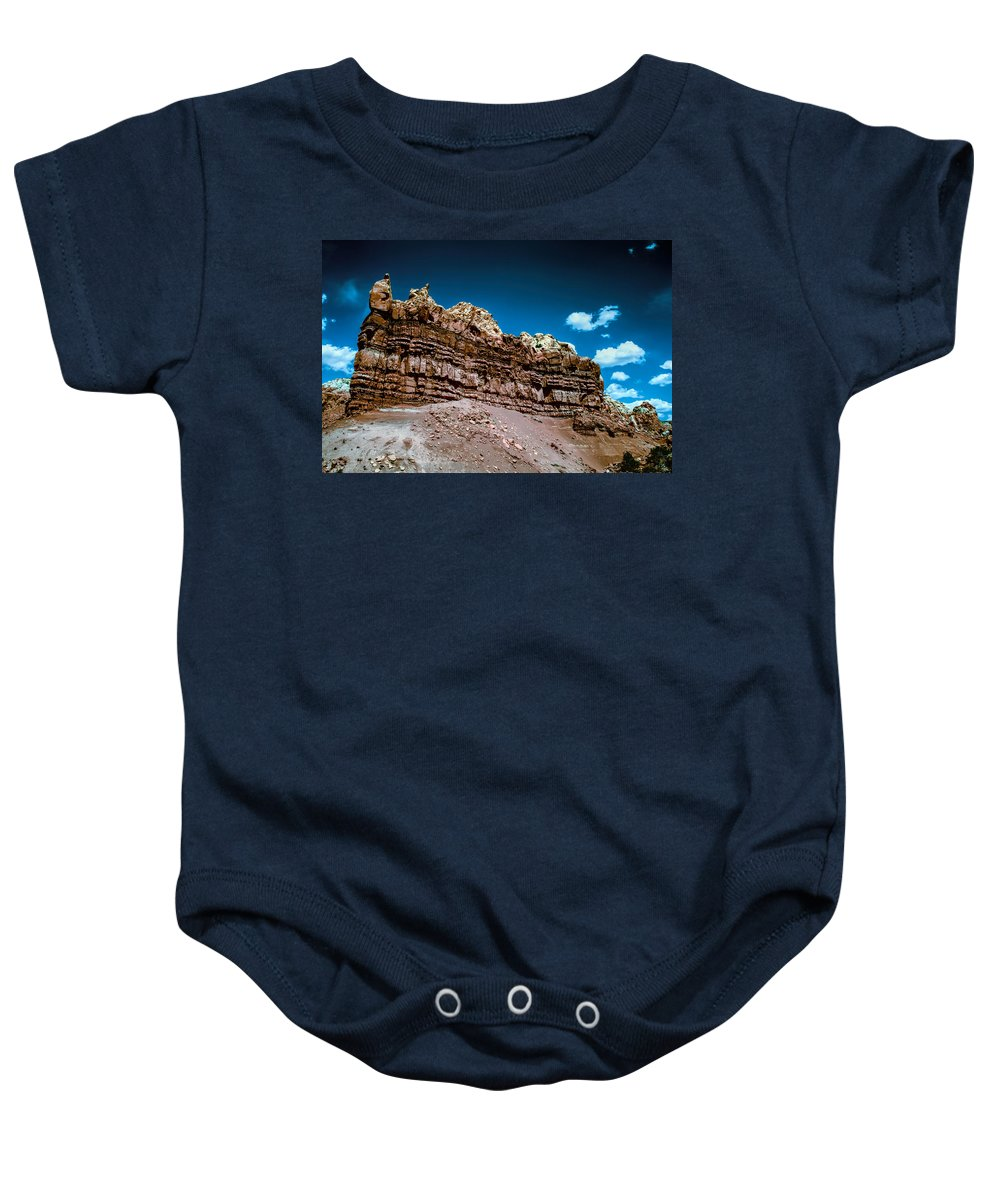 New Mexico Baby Onesie featuring the photograph Shaping Rock by Jim Buchanan