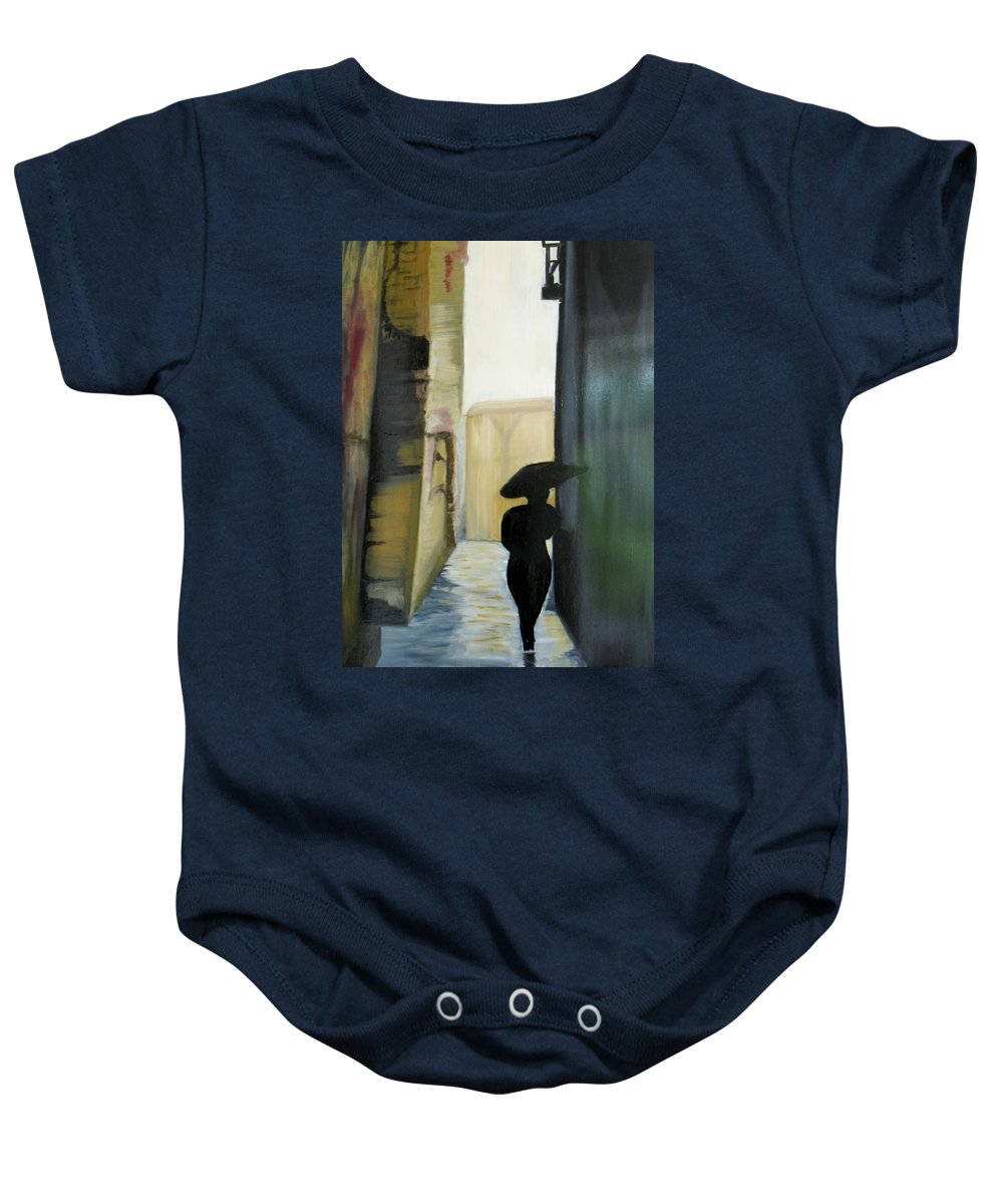 Woman Walking Baby Onesie featuring the painting She Walks by Kim Rahal