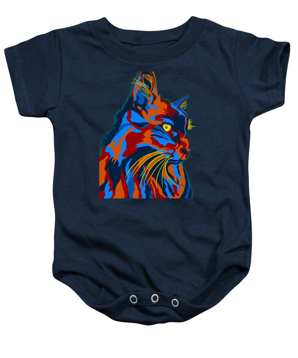 Cat Baby Onesie featuring the digital art Sheba by John Berndt