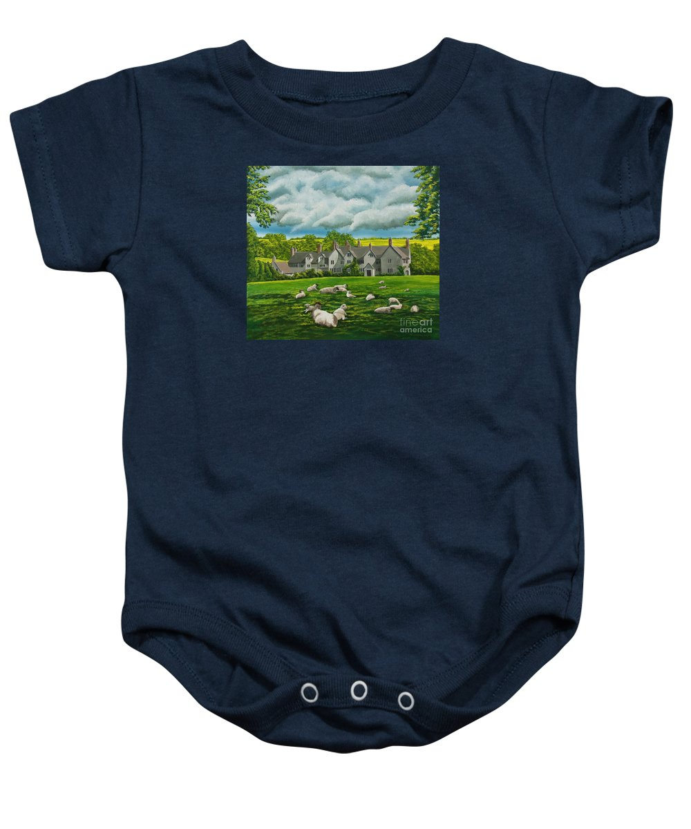 English Painting Baby Onesie featuring the painting Sheep In Repose by Charlotte Blanchard
