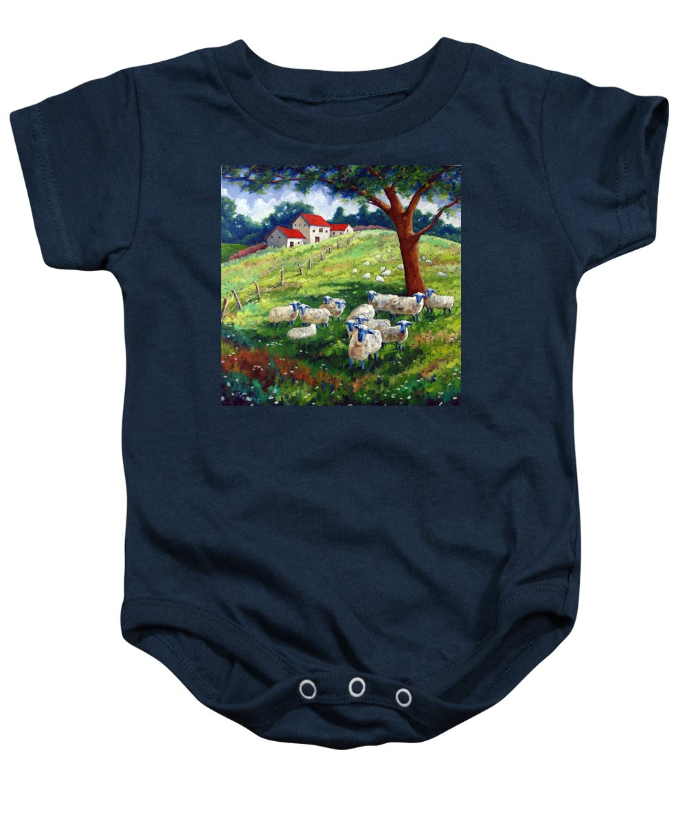 Sheep Baby Onesie featuring the painting Sheeps In A Field by Richard T Pranke