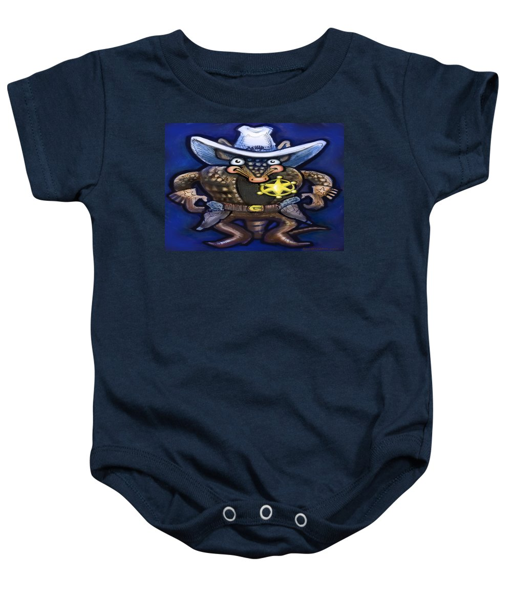 Sheriff Baby Onesie featuring the digital art Sheriff Dillo by Kevin Middleton