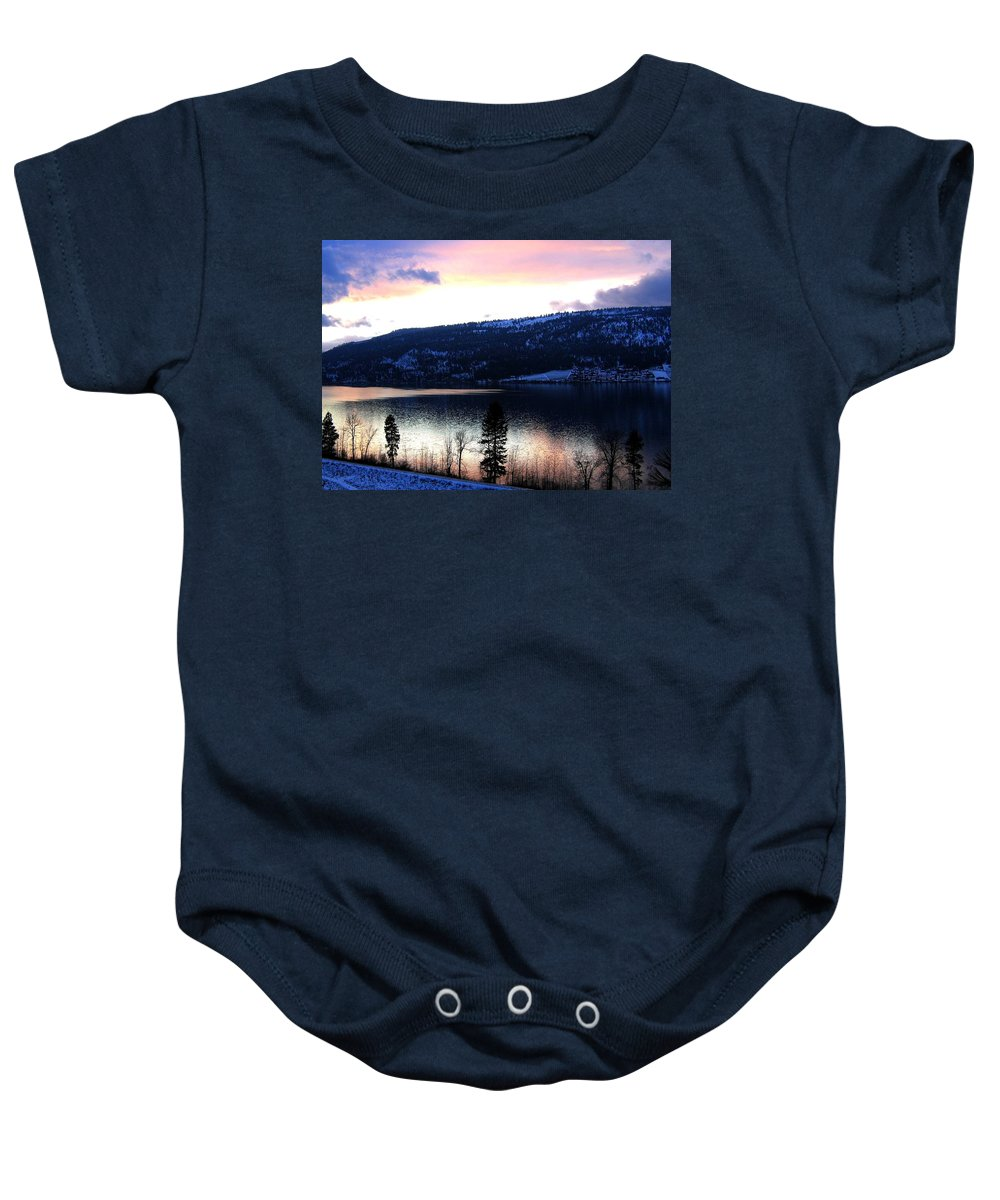 Wood Lake Baby Onesie featuring the photograph Shimmering Waters by Will Borden