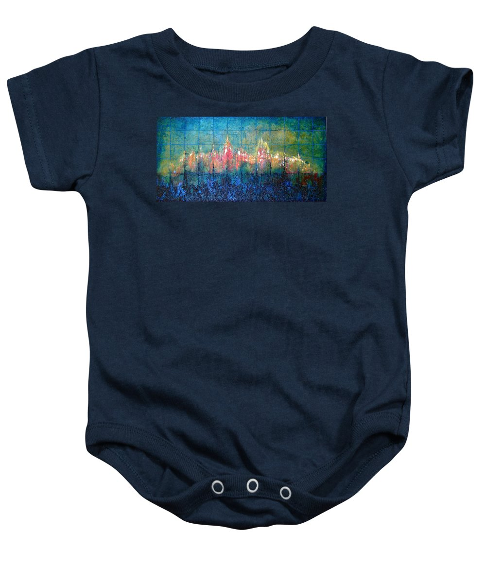 Seascape Baby Onesie featuring the painting Shorebound by Shadia Derbyshire
