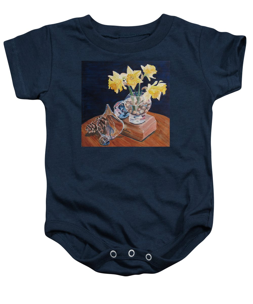Daffodils Baby Onesie featuring the painting Short Story II by Jenny Armitage