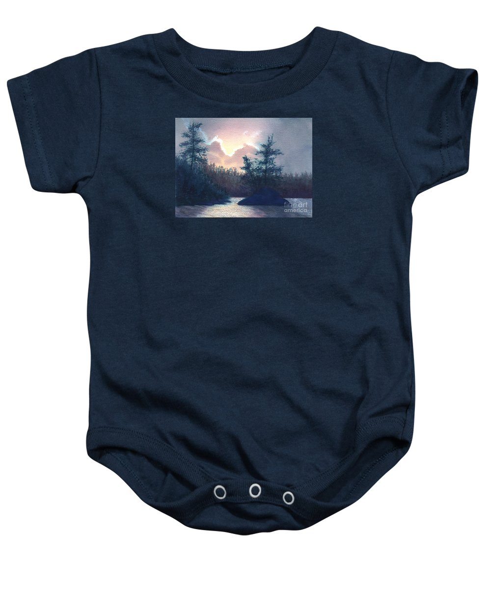 Landscape Baby Onesie featuring the painting Silver Lining by Lynn Quinn