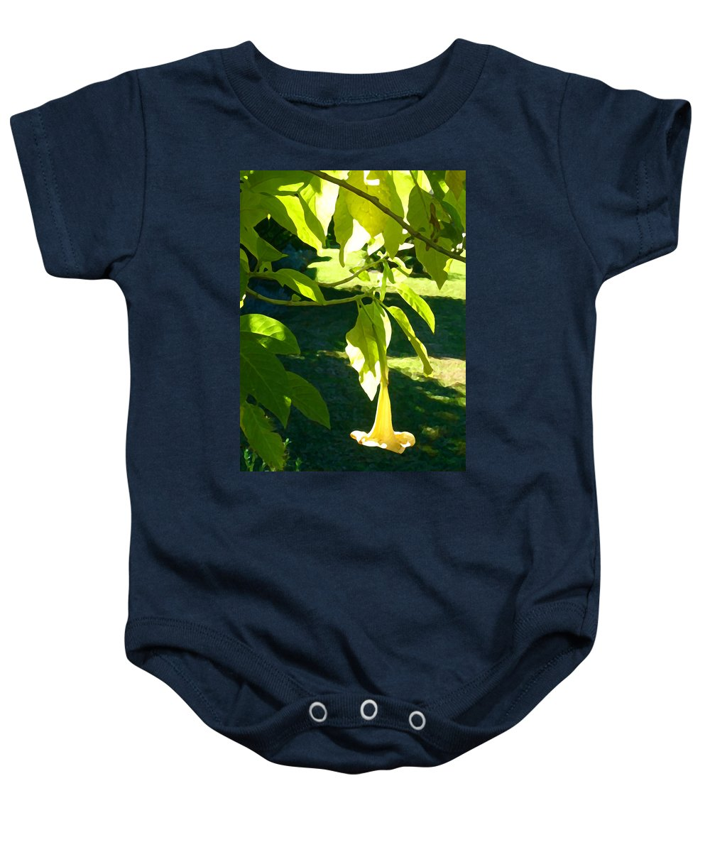 Spring Baby Onesie featuring the painting Single Angel's Trumpet by Amy Vangsgard
