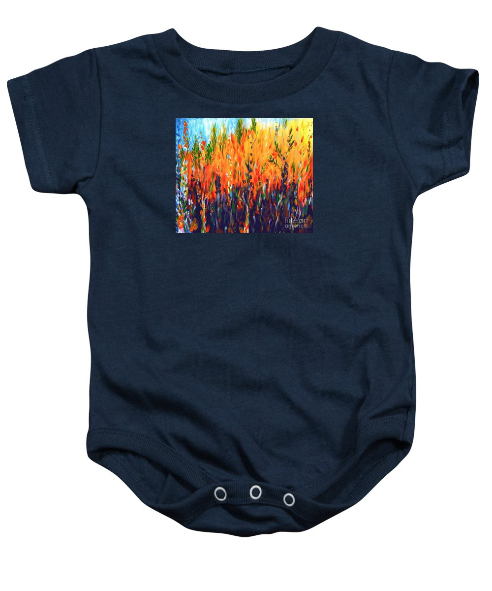 Fire Baby Onesie featuring the painting Sizzlescape by Holly Carmichael