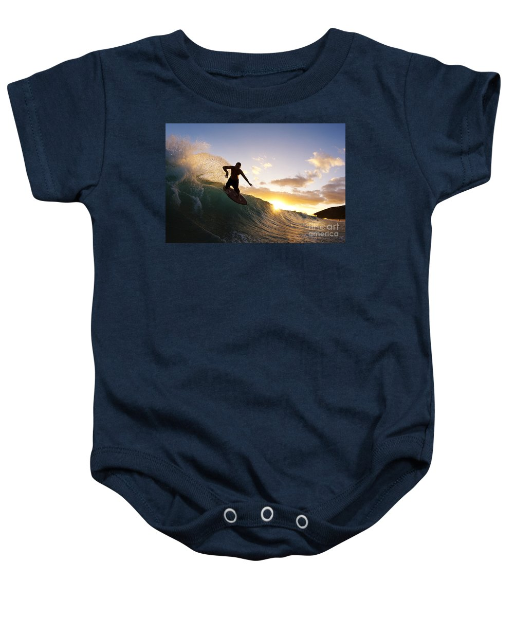 Action Baby Onesie featuring the photograph Skimboarding At Sunset I by MakenaStockMedia - Printscapes