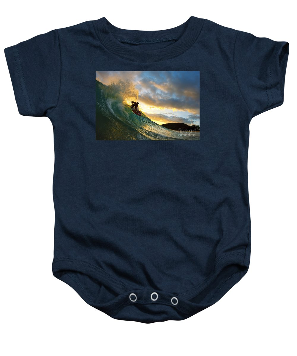 Action Baby Onesie featuring the photograph Skimboarding At Sunset II by MakenaStockMedia - Printscapes