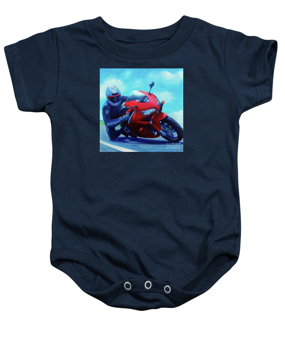 Motorcycle Baby Onesie featuring the painting Sky Pilot - Honda Cbr600 by Brian Commerford