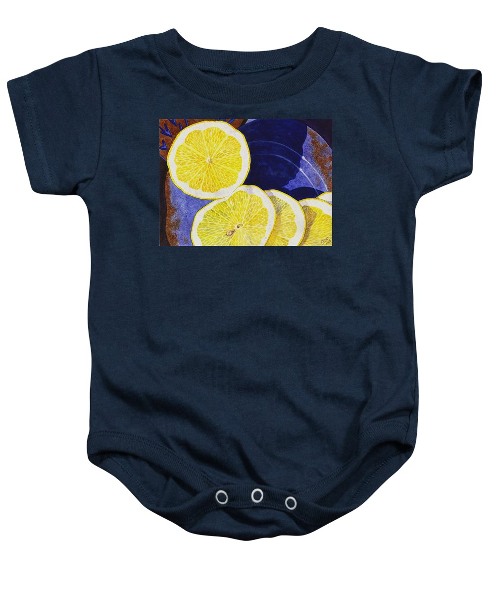 Lemon Baby Onesie featuring the painting Slices by Catherine G McElroy