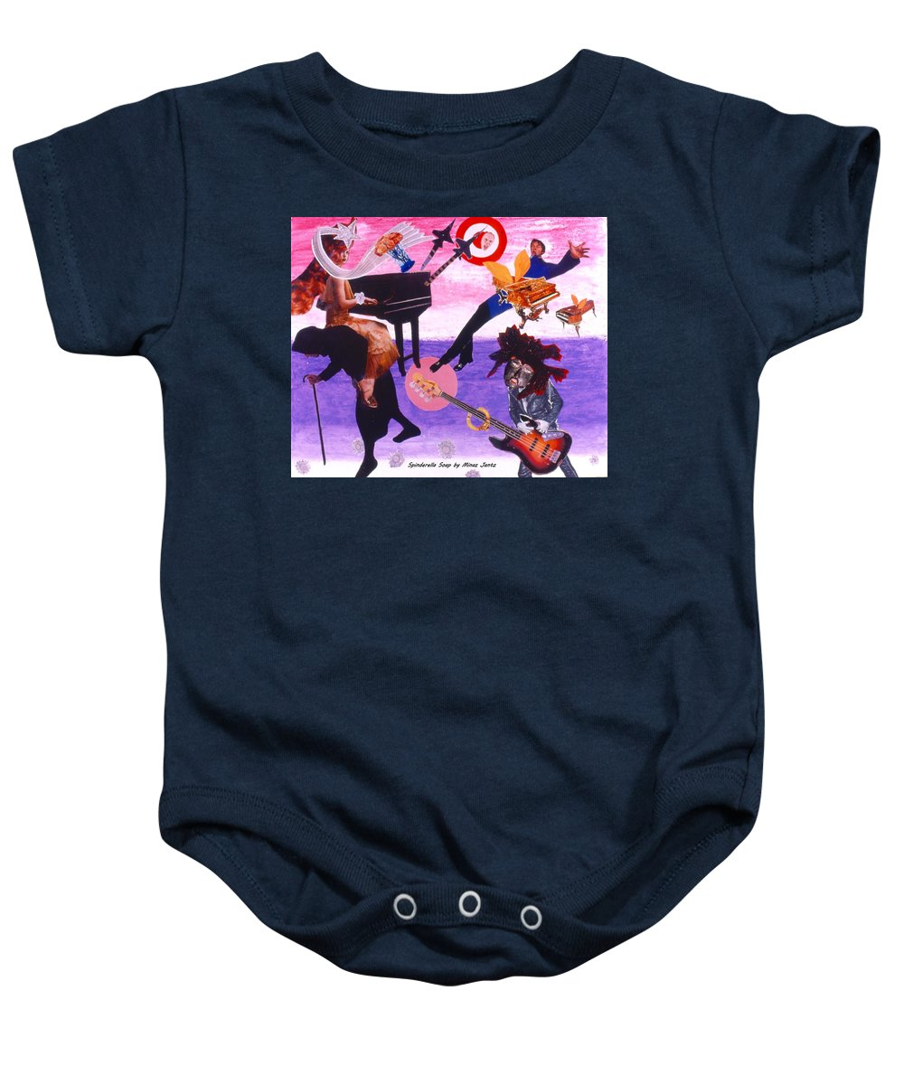 Grand Piano Baby Onesie featuring the drawing Soap Scene #21 Beggar Belief by Minaz Jantz