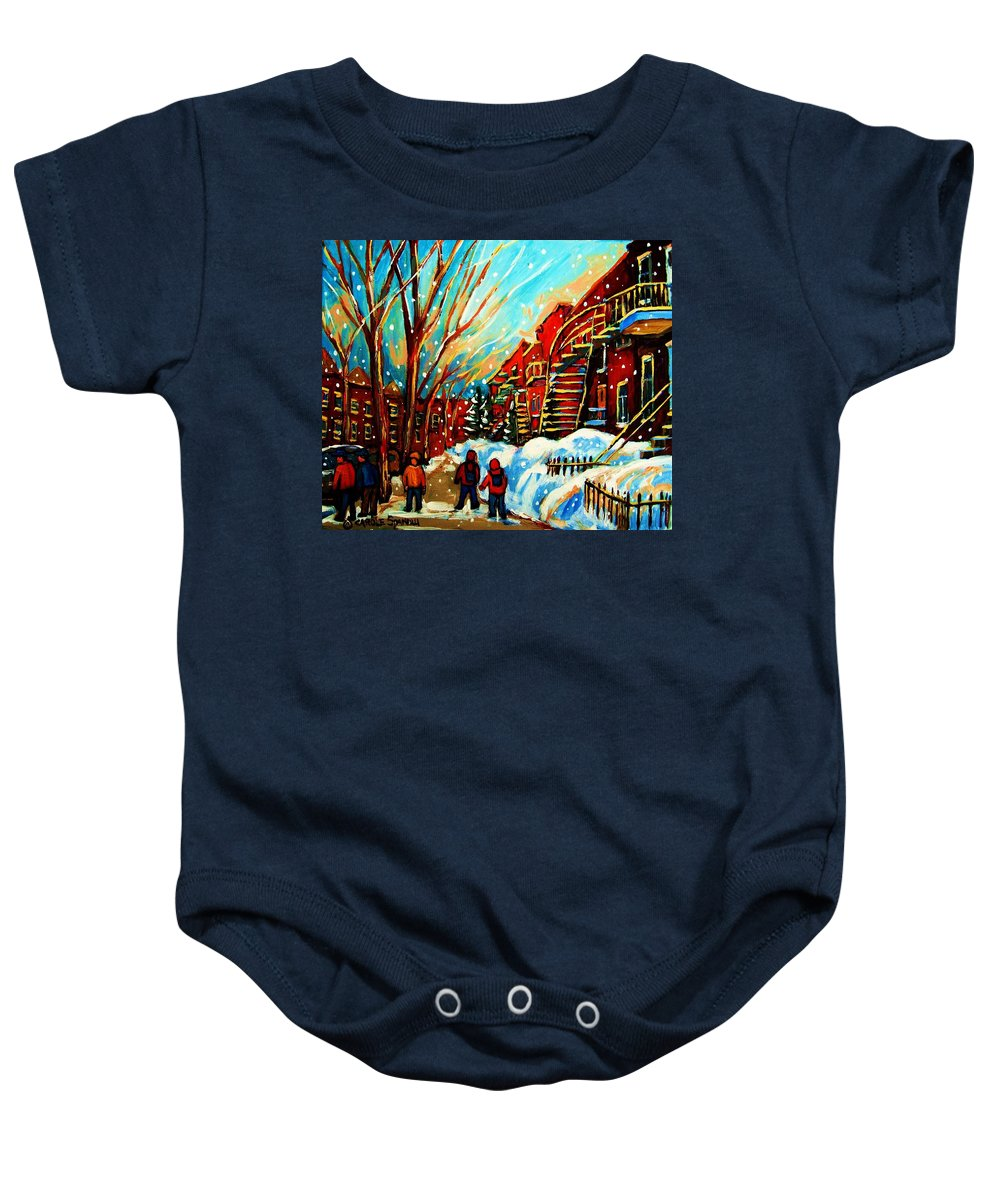 Montreal Baby Onesie featuring the painting Softly Snowing by Carole Spandau