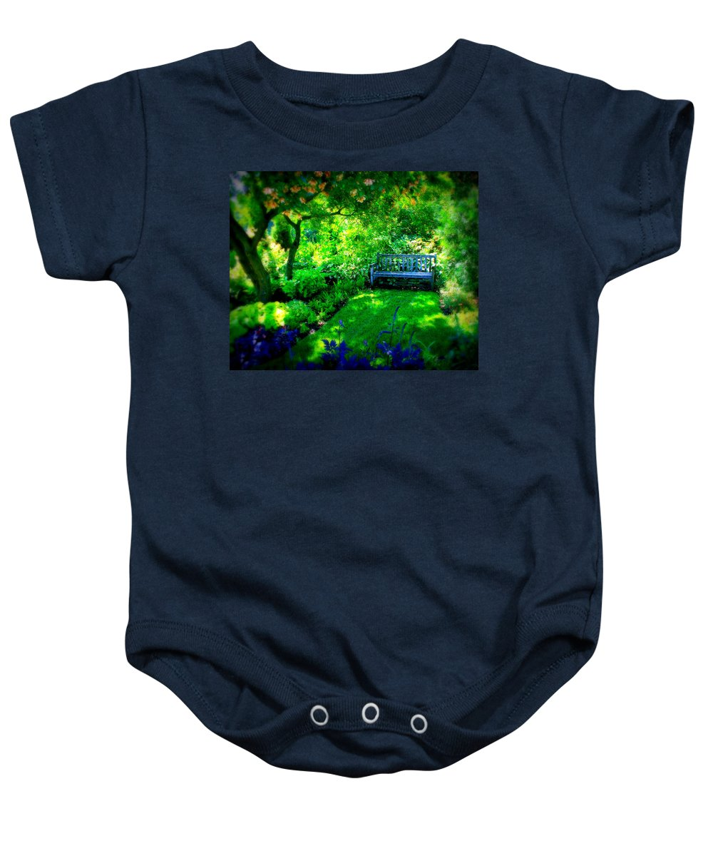 Bench Baby Onesie featuring the photograph Solo Bench by Perry Webster