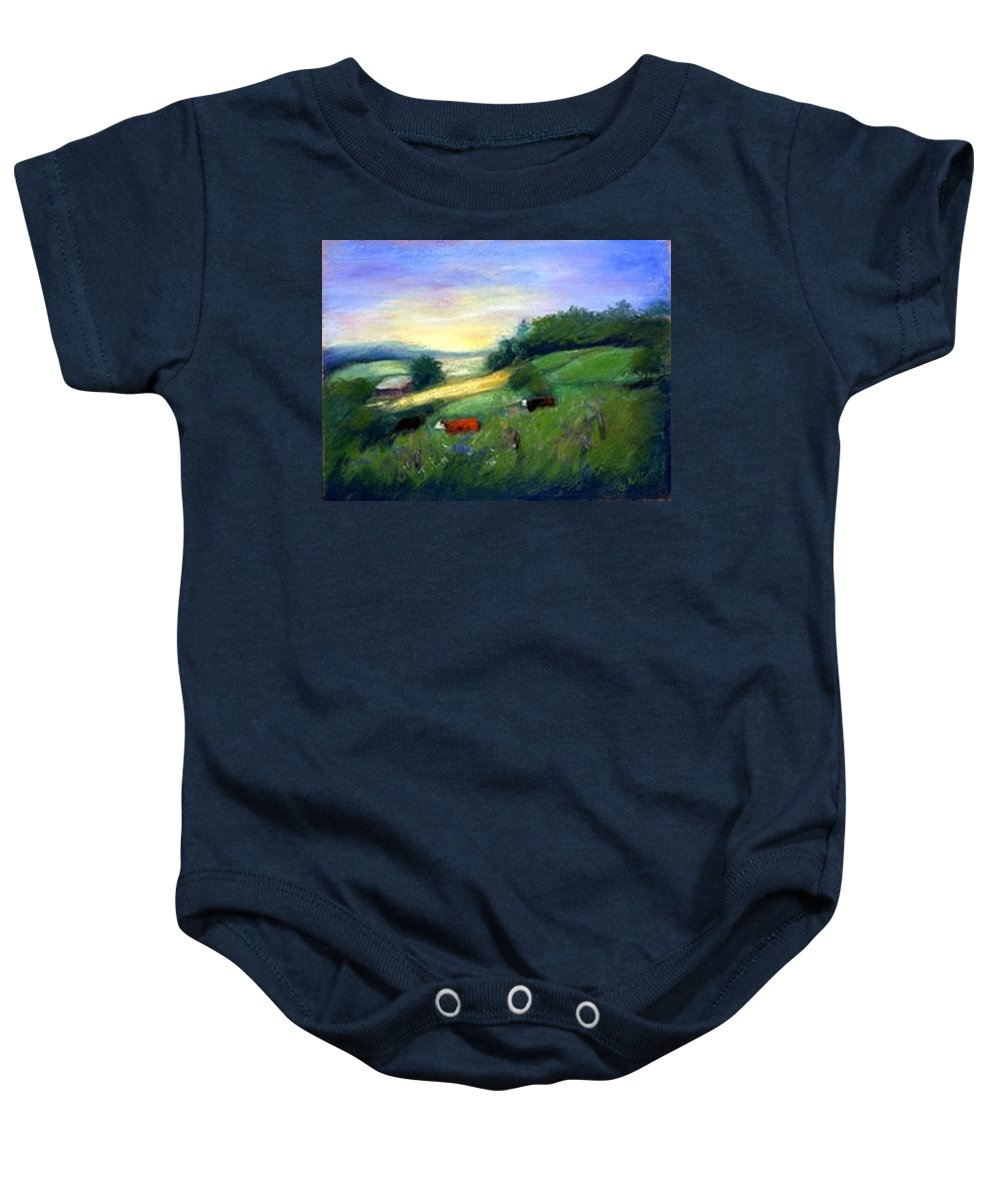 Landscape Baby Onesie featuring the painting Southern Ohio Farm by Gail Kirtz