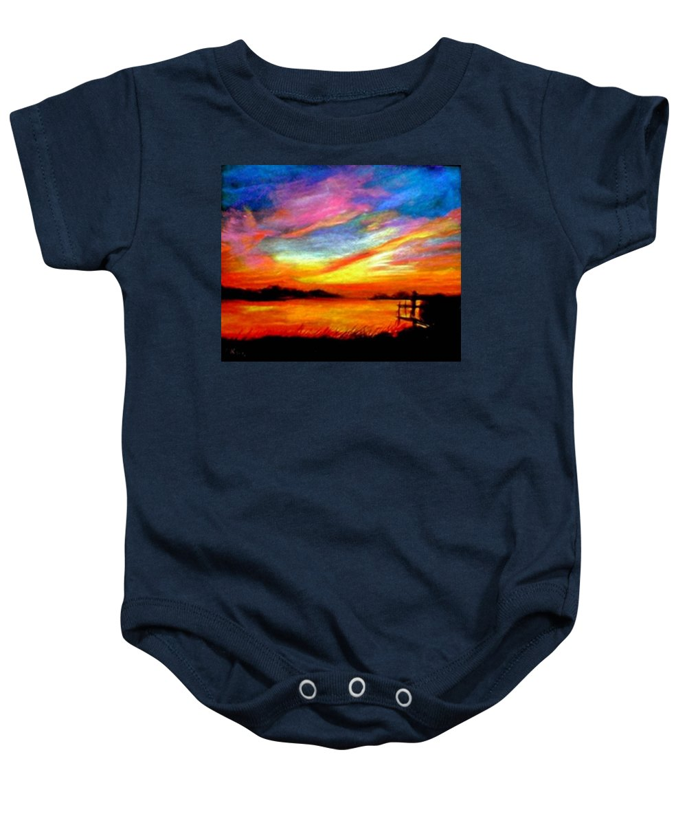 Sunset Baby Onesie featuring the painting Southern Sunset by Gail Kirtz