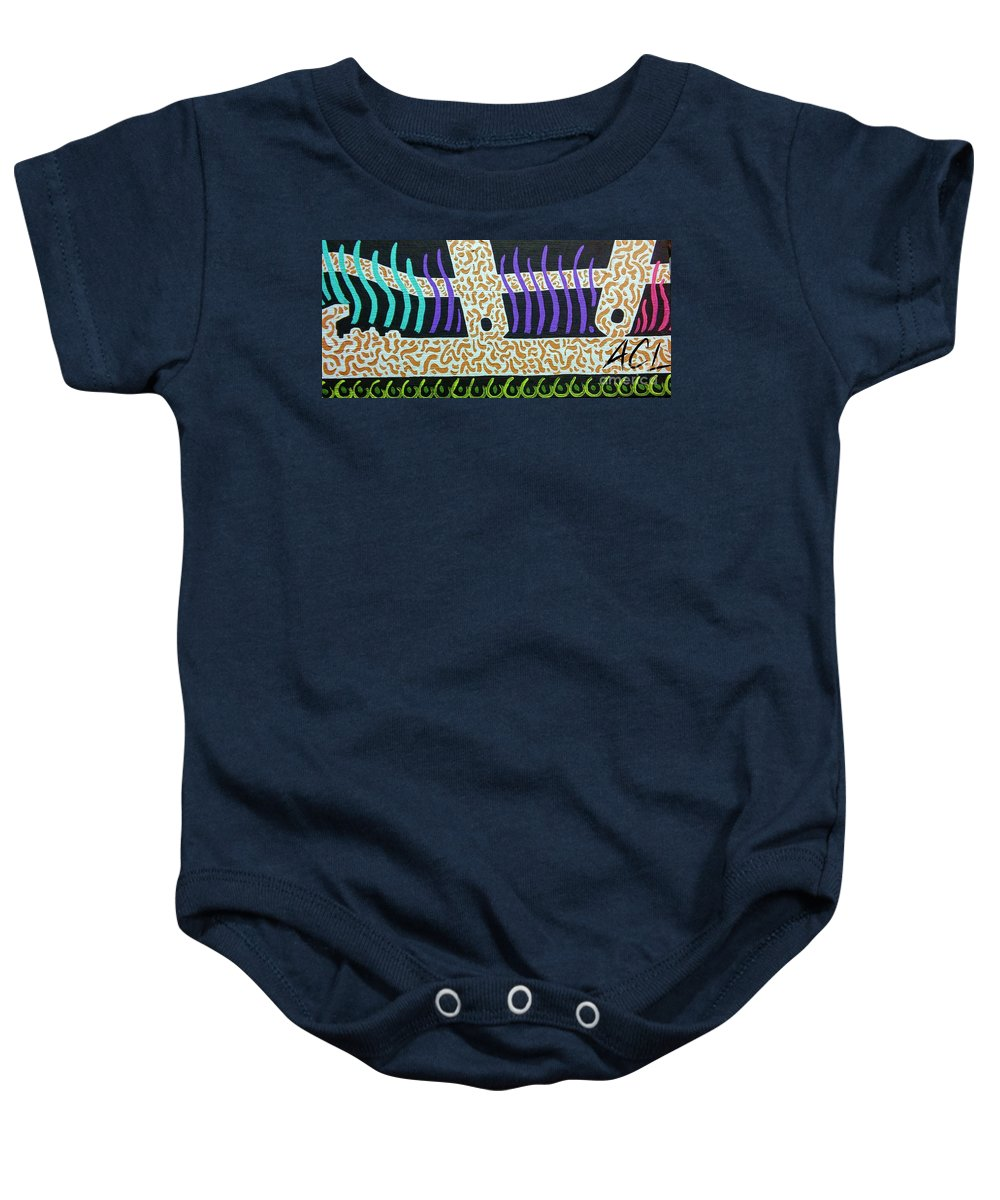 Abstract Baby Onesie featuring the painting Spineless by Alexander Ladd