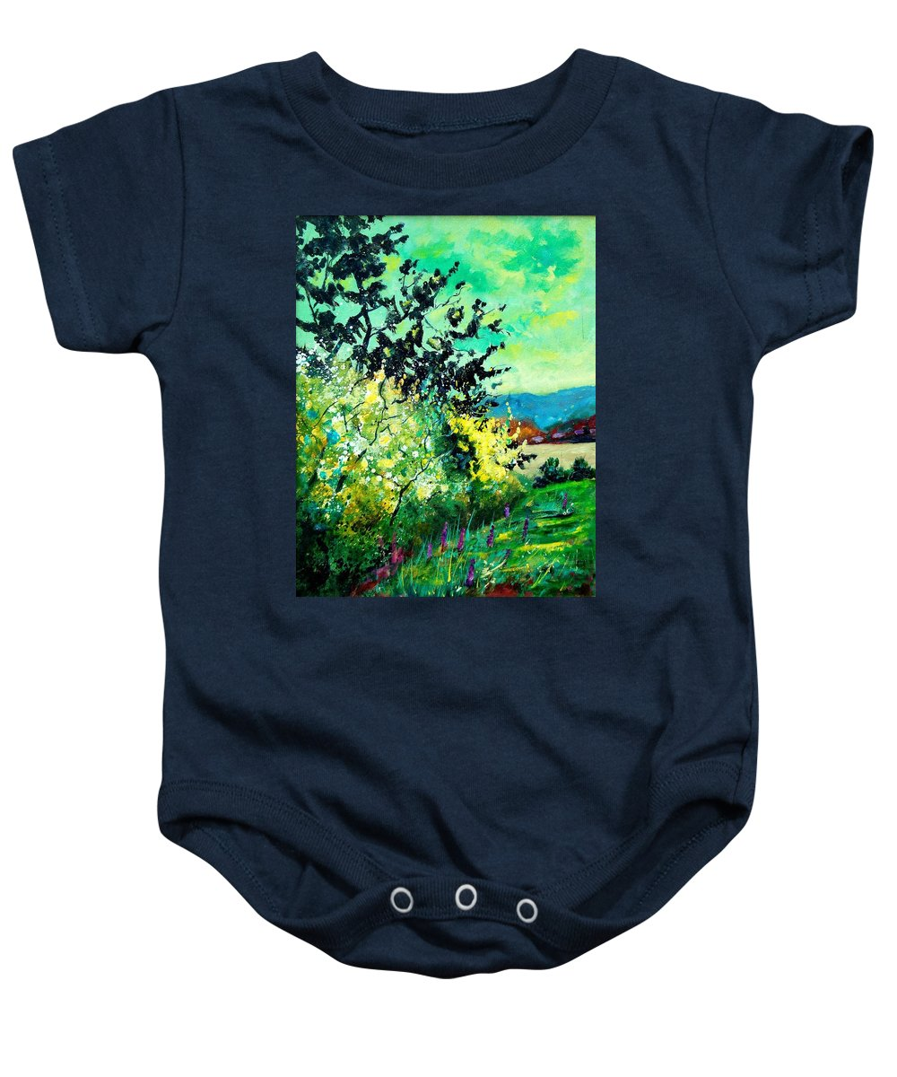 Spring Baby Onesie featuring the painting spring in Ciergnon by Pol Ledent