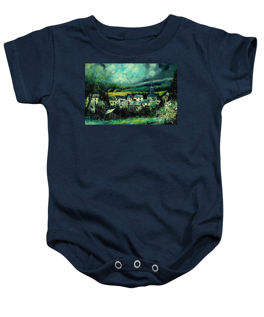 Tree Baby Onesie featuring the painting Spring In Daverdisse by Pol Ledent