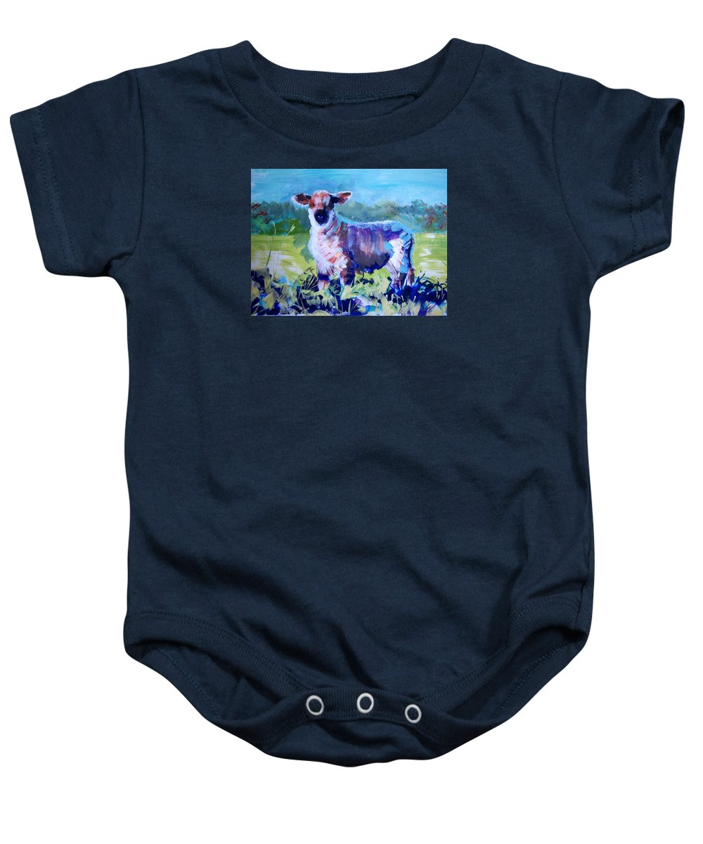 Lamb Baby Onesie featuring the painting Spring Lamb by Mike Jory