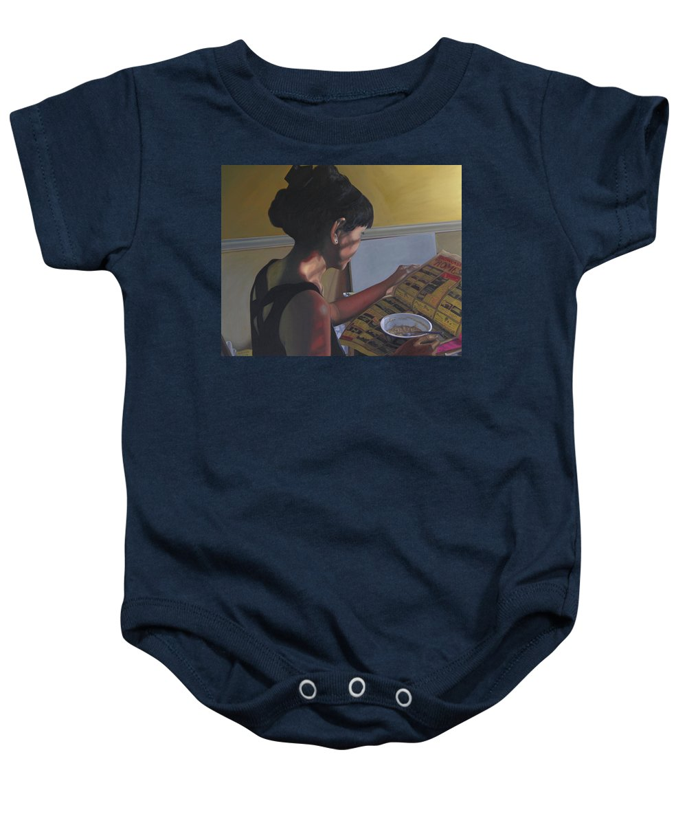 Women Reading Newspaper Baby Onesie featuring the painting Spring Morning Cabot Arkansas by Thu Nguyen