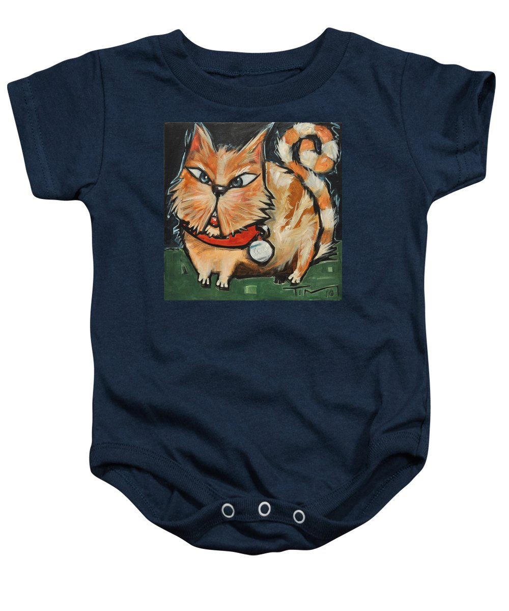 Cat Baby Onesie featuring the painting Square Cat Two by Tim Nyberg