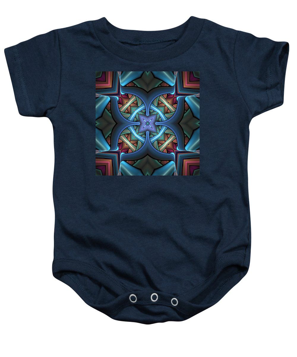 Digital Art Baby Onesie featuring the digital art Stacked Kaleidoscope by Amanda Moore