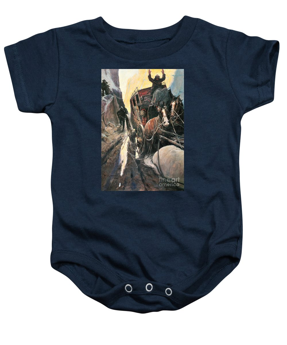 1906 Baby Onesie featuring the photograph Stagecoach Robbers by Granger