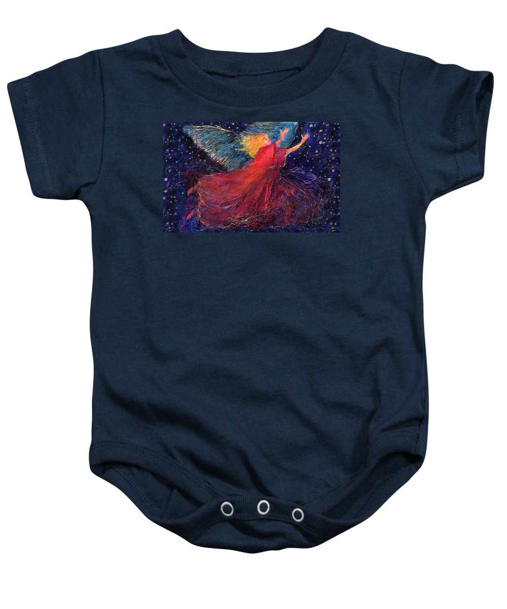 Angel Baby Onesie featuring the painting Starry Angel by Diana Ludwig