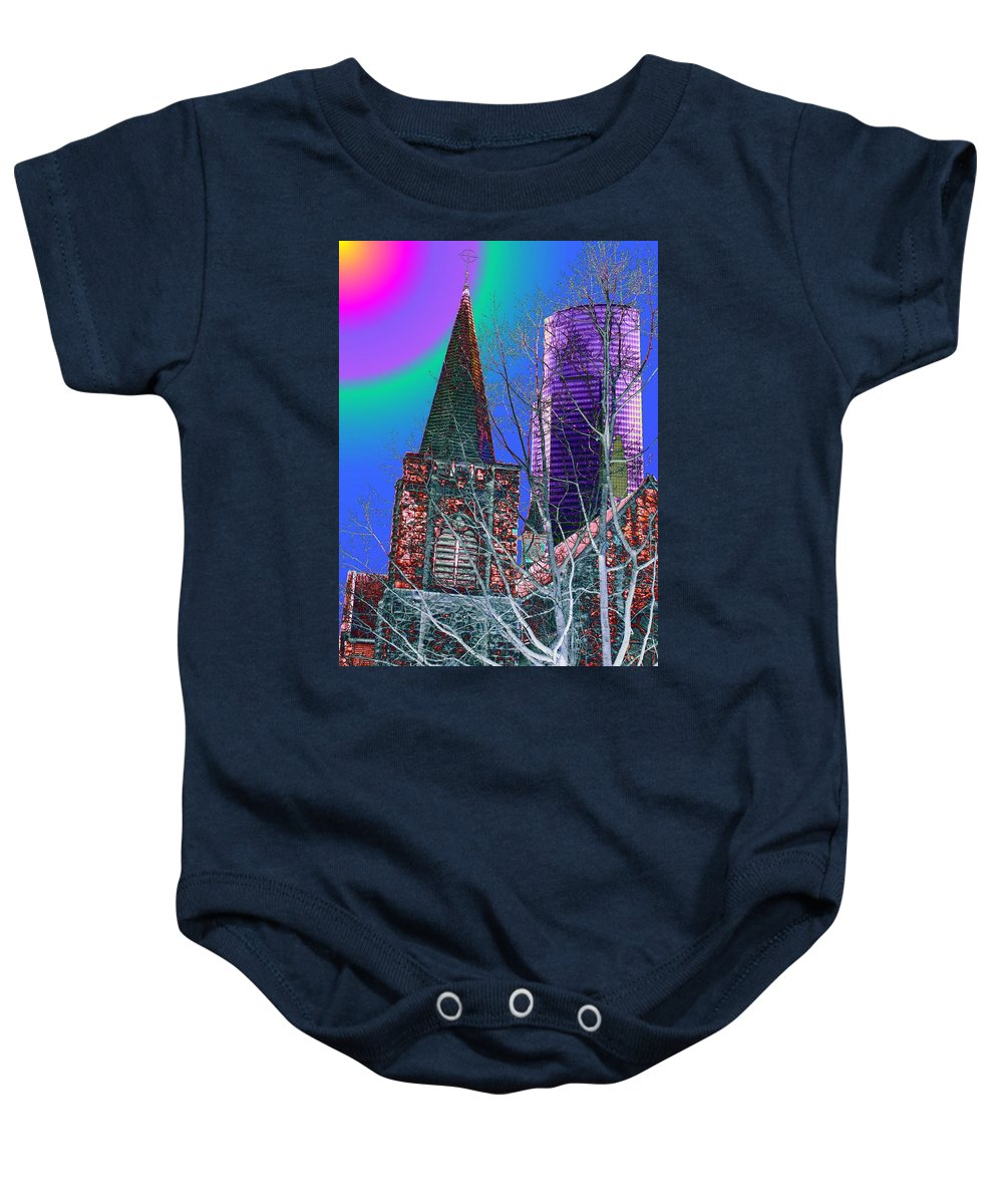 Seattle Baby Onesie featuring the digital art Steeple And Columbia by Tim Allen