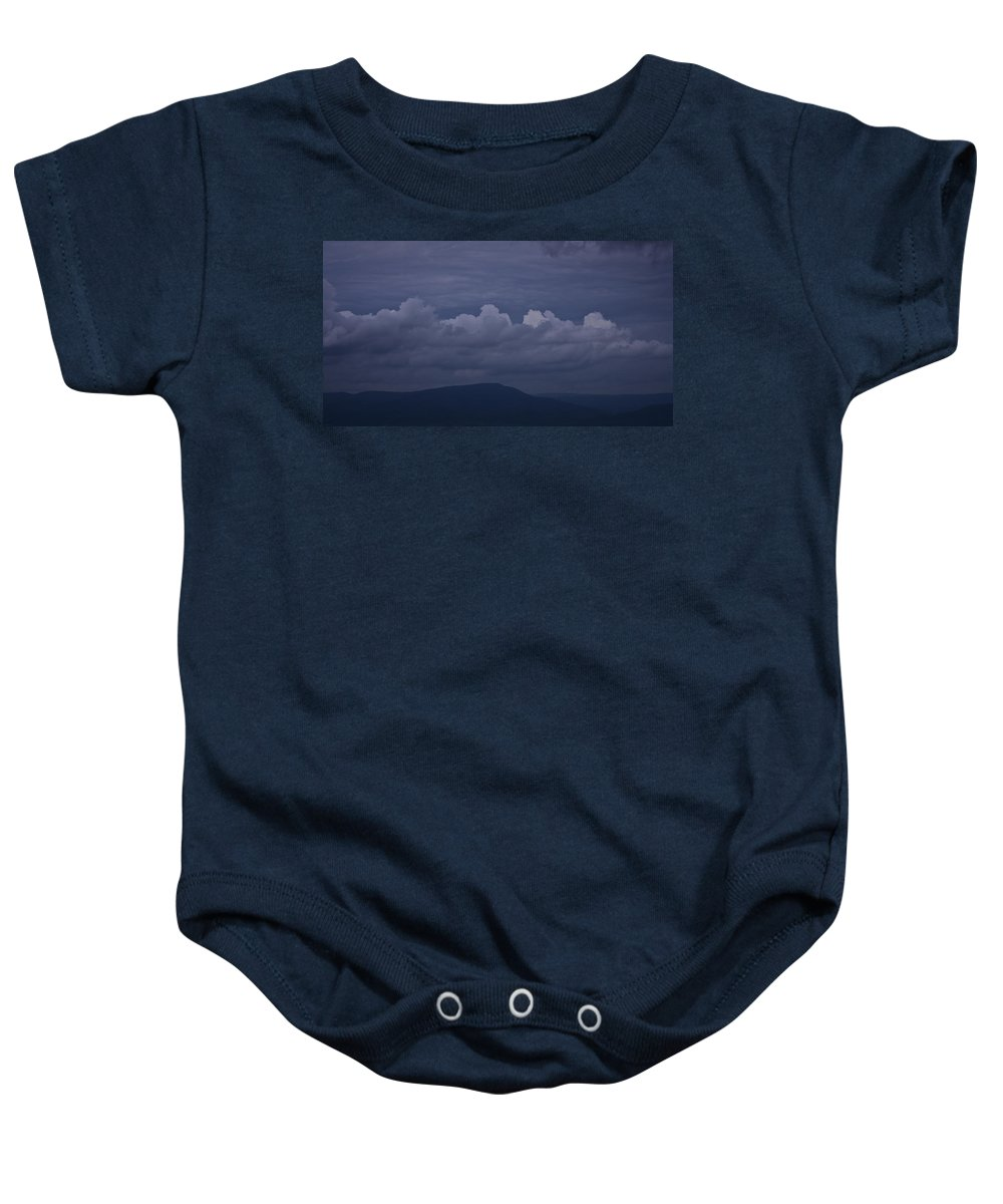 Roanoke Baby Onesie featuring the photograph Storm Clouds Over The Valley by Teresa Mucha