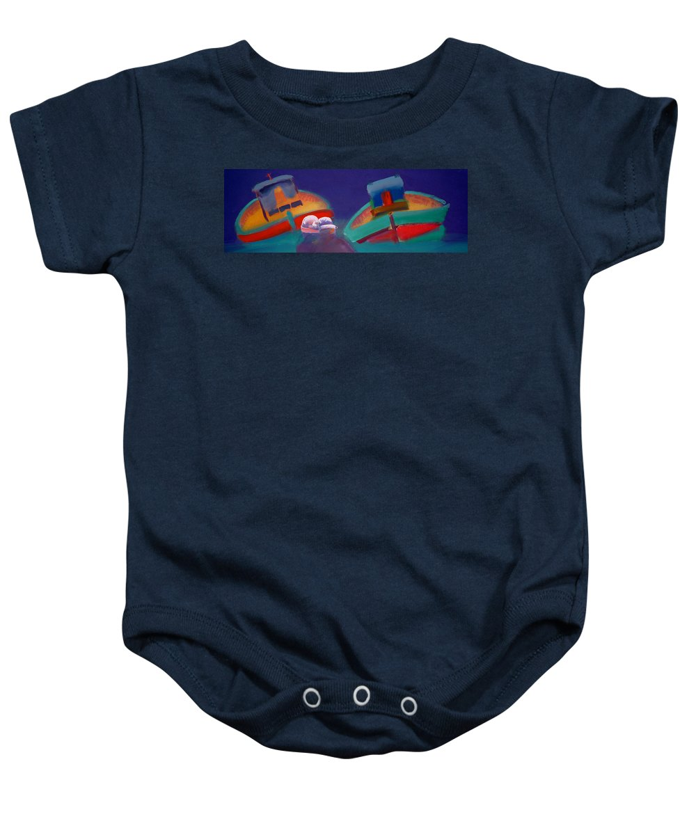 Storm Baby Onesie featuring the painting Storm Horizon by Charles Stuart