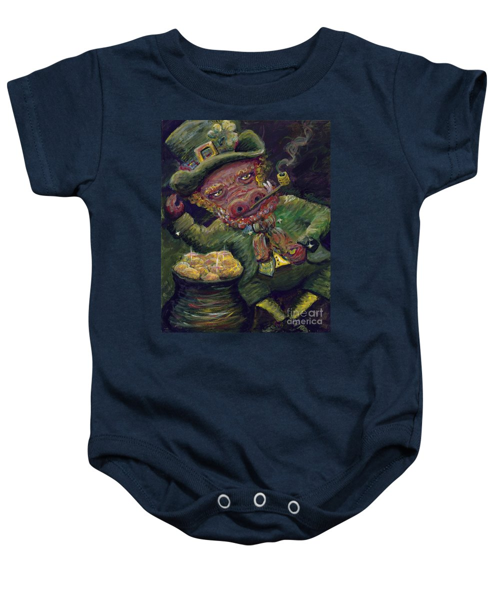 Hog Baby Onesie featuring the painting St.patricks Day Pig by Nadine Rippelmeyer
