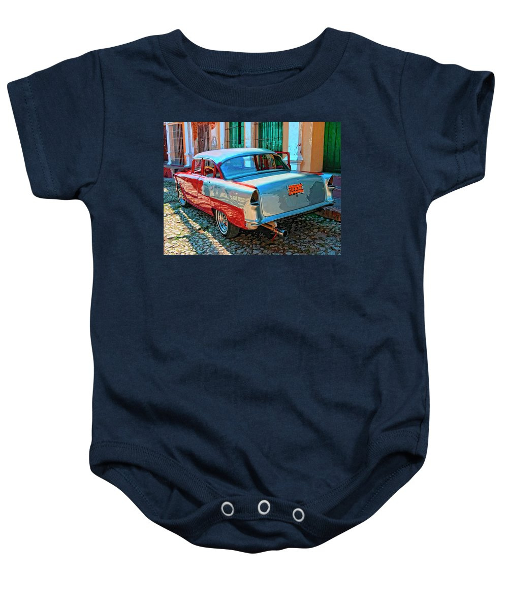 Street Racer Baby Onesie featuring the mixed media Street Racer by Dominic Piperata