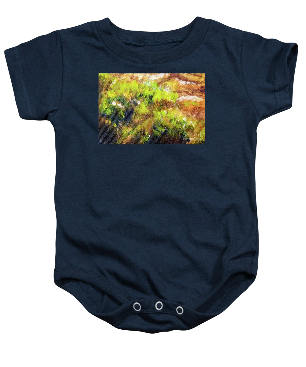 Baby Onesie featuring the painting Structure Of Wooden Log Covered With Moss, Closeup Painting Detail. by Jozef Klopacka