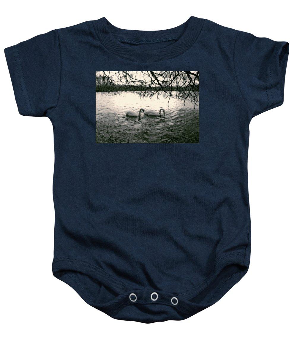 Swans Baby Onesie featuring the photograph Subtle Swans by Julia Raddatz