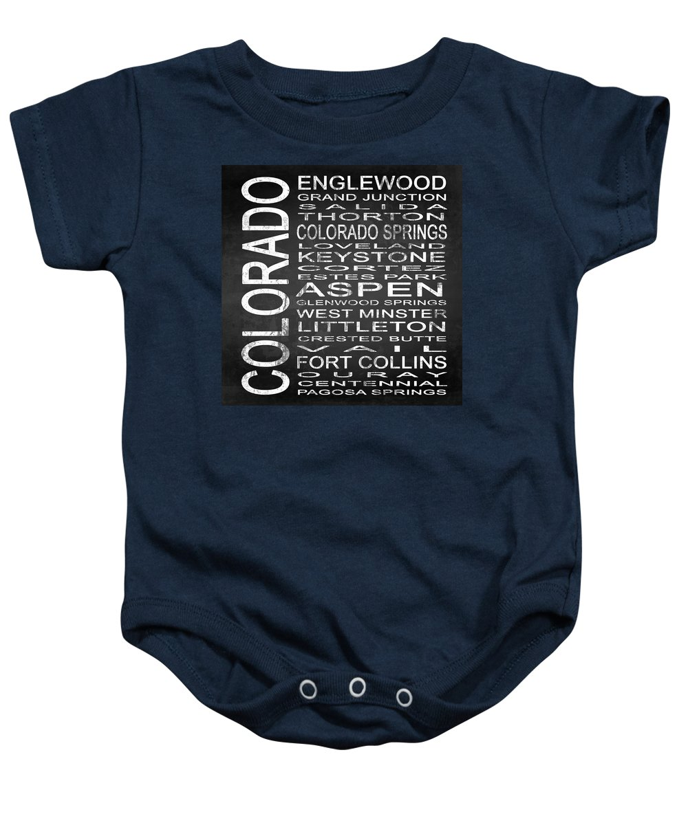 Subway Sign Baby Onesie featuring the digital art Subway Colorado State 2 Square by Melissa Smith