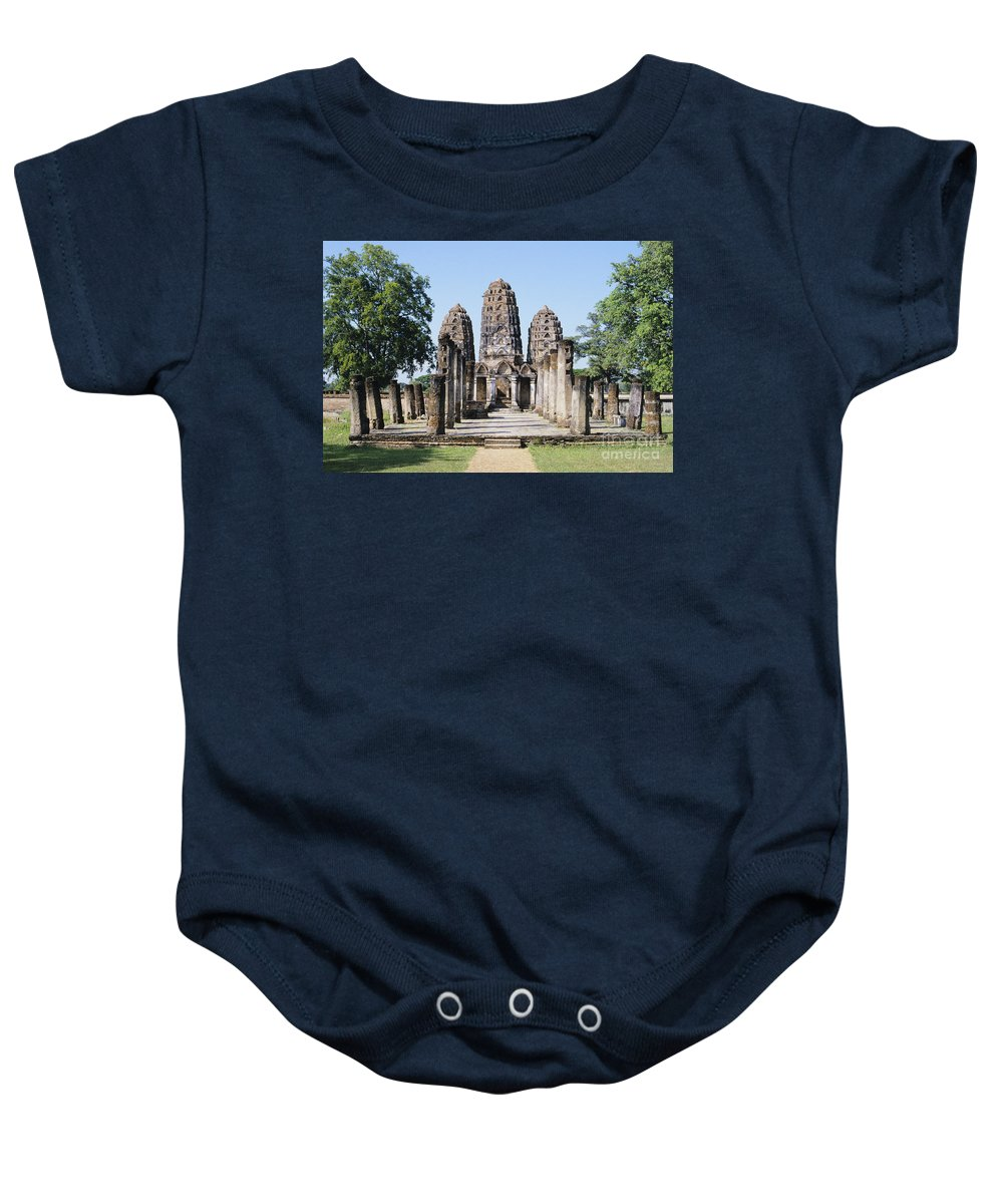 Ancient Baby Onesie featuring the photograph Sukhothai Khmer Sanctuary by Gloria and Richard Maschmeyer - Printscapes