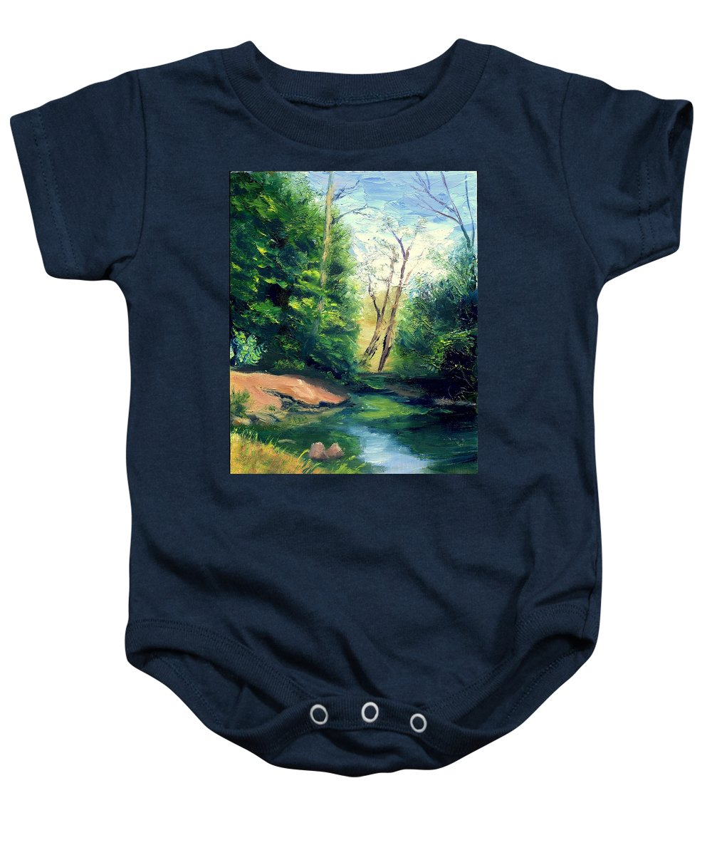 Landscape Baby Onesie featuring the painting Summer At Storm by Gail Kirtz