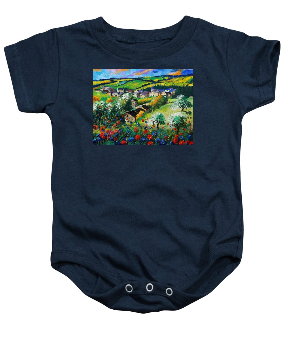 Poppies Baby Onesie featuring the painting Summer In Rochehaut by Pol Ledent